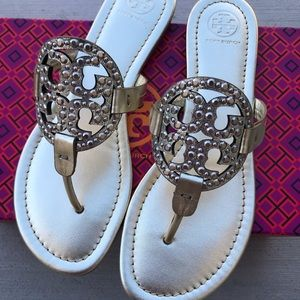 Tory Burch Shoes - {Tory Burch} Spark Gold Embellished Miller